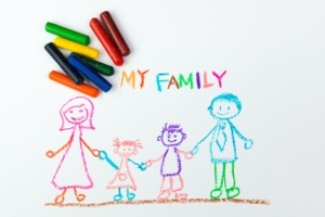 Child's drawing of my happy family using crayon